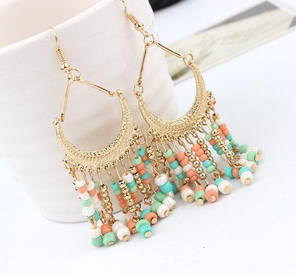Fashion Bohemian Vintage Style Statement Cute Resin Tassel Waterdrop Beads Dangle Golden Earrings for Women