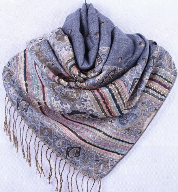 Fashion Gray Women's Silk Pashmina Shawls