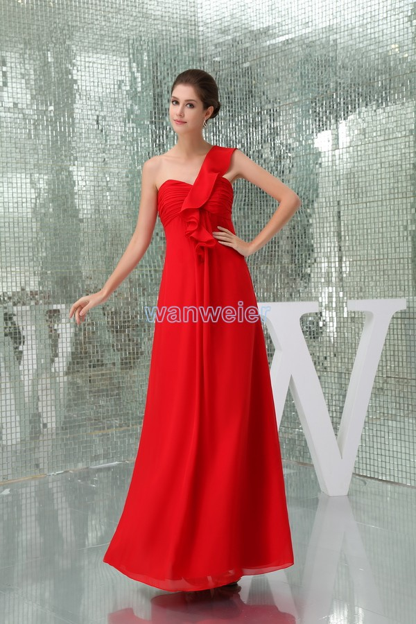 free shipping modest 2013 new design hot sale pleat custom size one shoulder plus size gown beach long red   Bridesmaid     Dresses