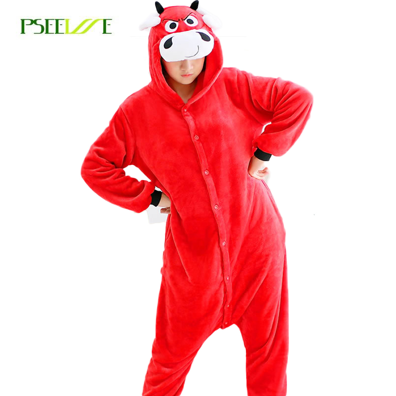 PSEEWE New Women Pajama Sets Autumn And Winter Flannel Red Cow Nightgowns Animal Pajamas One Piece Onesies For Adults Girls