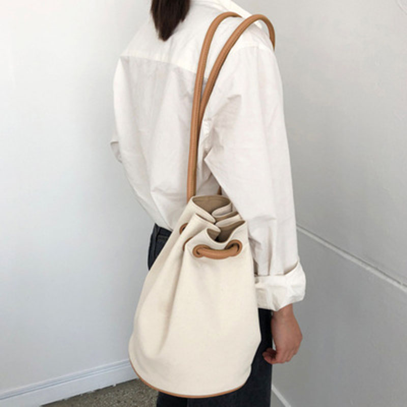 Adjustable Drawstring Canvas Stitching Bucket Bag Wild Shoulder Bag Femaleyf131