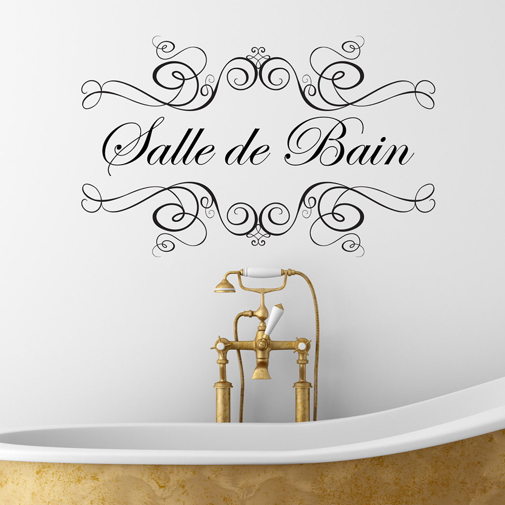 Salle De Bain Wall Sticker For Bathroom French Vinyl Decal Stickers Home Interior Decoration Waterproof Removable D666 Wall Stickers Aliexpress