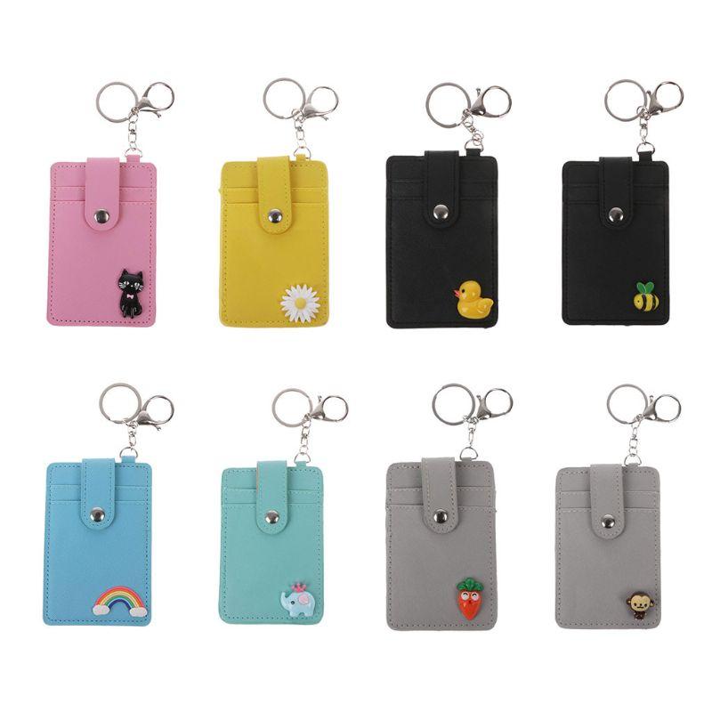 Портативный кожаный держатель для карт THINKTHENDO, нагрудный знак с брелком для ключей, унисекс, сумки для карт 7,5x11,5 см