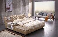 진짜 진짜 가죽 침대 구조 저장을 가진 현대 연약한 침대 가정 침실 가구 cama muebles de dormitorio/camas quarto