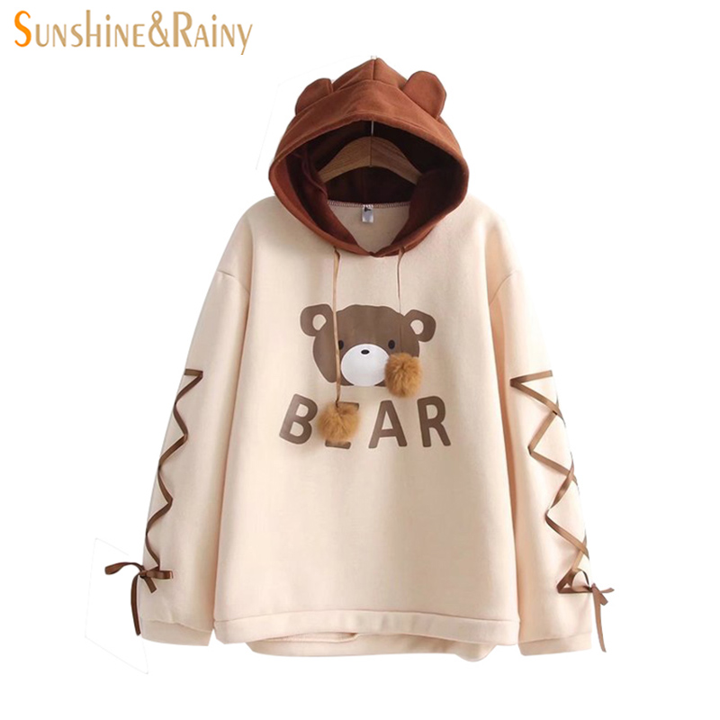 Spring New Ladies Soft Girl Cute Bear Printing Double Fur ball Hooded Ear Shirt Long Sleeved Lace Student Coat Tops moletom