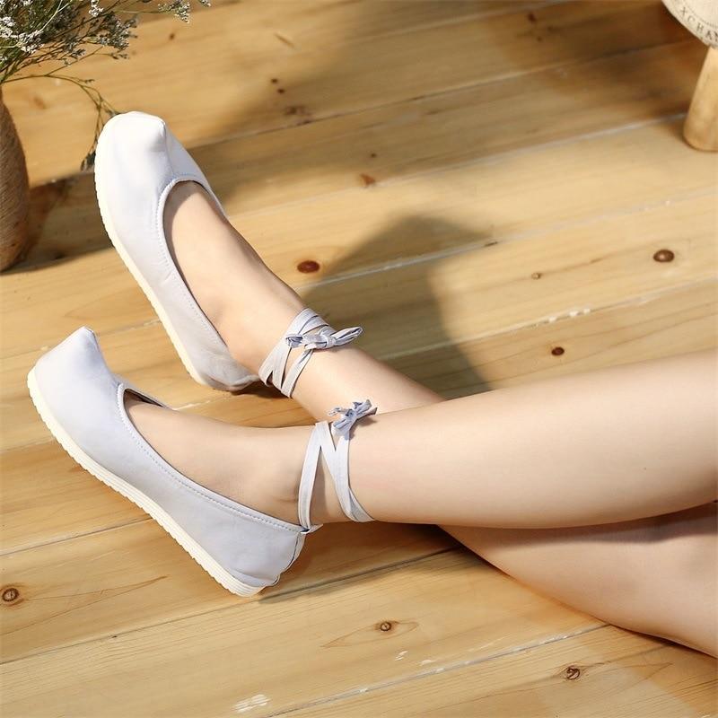Cheville Vierge Coton En Bout blanc Femmes Nez Ballet forme Plate Bracelet Chaussures Casual Costume Dames Vintage Plaine Dentelle Toile Gris Veowalk Appartements XZq8xvv