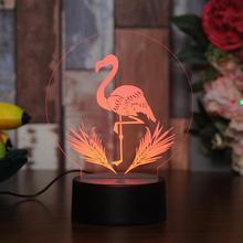 Creative Diy Table 3d Night Lamp Flamingos Led Night Light Usb Bedside 3d Lamp Can Be Customized Wholesale