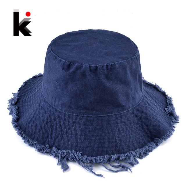 Summer Beach Hat For Women Washed Cotton Floppy Sun Cap Lady Fashion Tassel  Bucket Hats Outdoor Anti-UV Visor Caps Denim Chapeu ba377886de2f