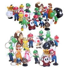 Conjunto de Super Mario Bros, 18 unidades LLavero de figura colgante de dibujos animados para niños, juguetes educativos