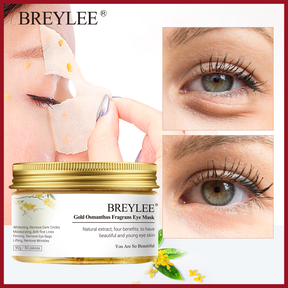 BREYLEE Gold Osmanthus Fragrans Eye Mask Collagen Gel Eye Patch Face Skin Care Remove Dark Circles Lifting Firming Serum 50pcs(China)