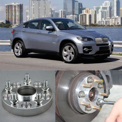 Teeze 4pcs New Billet 5 Lug 14*1.5 Studs Wheel Spacers Adapters For BMW X6 2008-2013 2 a pair of 6 x 5 5 139 7 mm the hole is 108 mm the wheel adapters spacers suitable for toyota rand cool luze 80 series