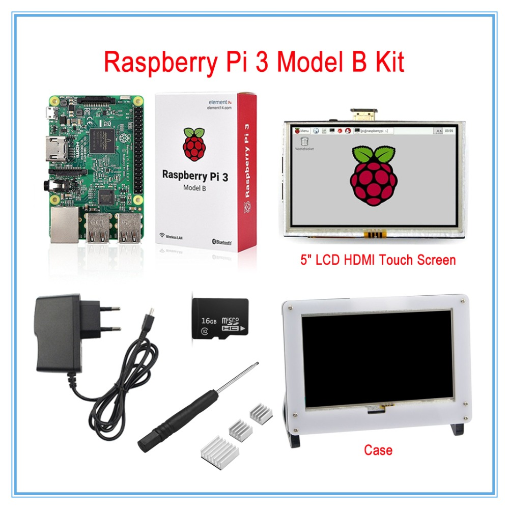 Raspberry Pi 3 Model B Board Kit / 5 Inch LCD HDMI USB Touch Screen+5V 2.5A Power Supply+Heatsinks+Case(White) 3 5 inch touch screen tft lcd 320 480 designed for raspberry pi rpi 2
