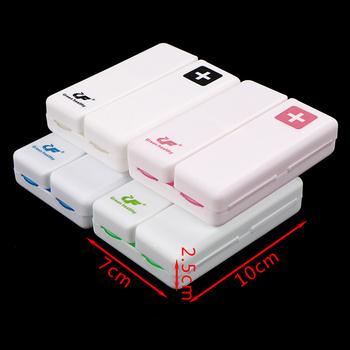 Składany 7 dni pudełko na pigułki dozownik 4 kolory lek przechowywanie tabletu walizka podróżna uchwyt na apteczka pojemnik organizator tanie i dobre opinie JETTING food grade pp Weekly Pill Box