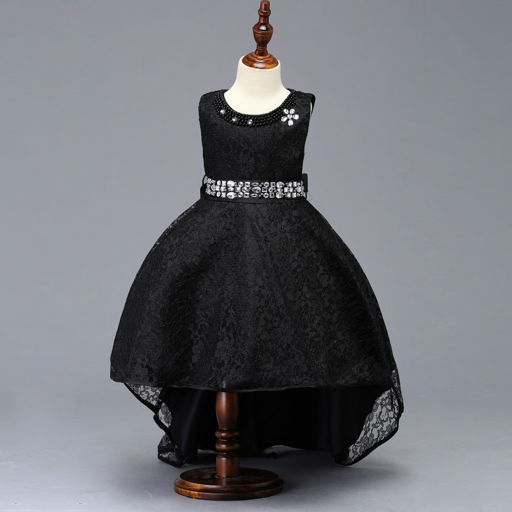 Black   Flower     Girl     Dresses   Cap Sleves Ball Gown Kids Evening Gown vestido comunion Prom   Dresses     Girls