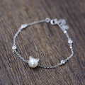 925 Sterling Silver Bracelets for Women Girl Cute Lovely Cat Head Charm Natural freshwater pearl Bracelet Birthday Gift