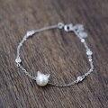925 pulseiras de prata esterlina para mulheres menina adorável cabeça bonito do gato encanto Natural de água doce pérola pulseira de presente de aniversário