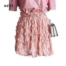 f30b2b7c37 WSFS verano Appliques arrugas falda negro Rosa beige Encaje elástico cintura  mini Faldas mujeres 2018 dulce sexy falda del venda.