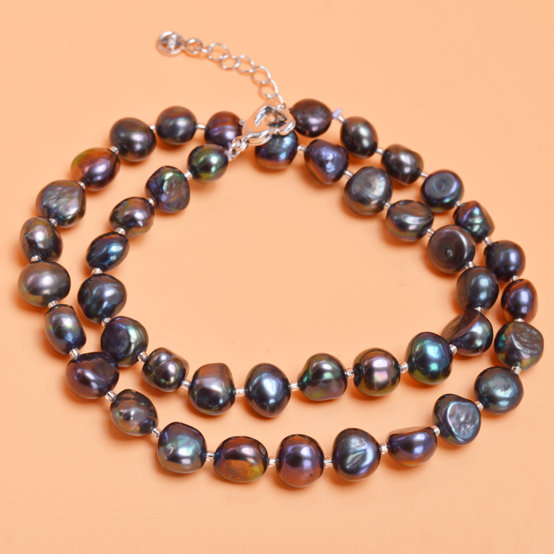 ASHIQI-Gary-Baroque-Natural-pearl-Jewelry-Sets-Real-Black-Freshwater-pearl-Necklace-Bracelet-for-women-New (2)