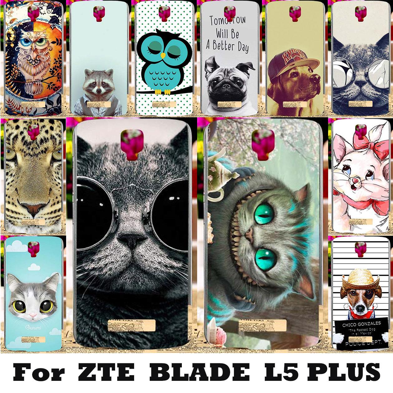 Мягкие TPU Cat окрашенные Чехлы для ZTE Blade L5 ZTE Blade L5 плюс 5.0 дюймов крышка Корпус обратно мешок капюшон Coque щит для ZTE L5 плюс