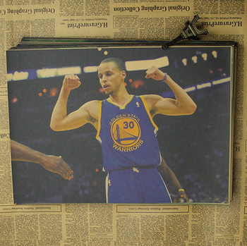 Figure NBA basketball star Stephen curry poster warriors retro photo wall stickers decorative painting paper 3