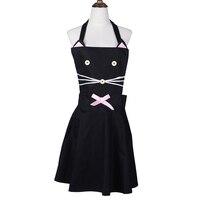 Korean Cat Cartoon Apron Kitchen Cotton Apron For Woman Coffee Shop Work Apron For Cute Girl