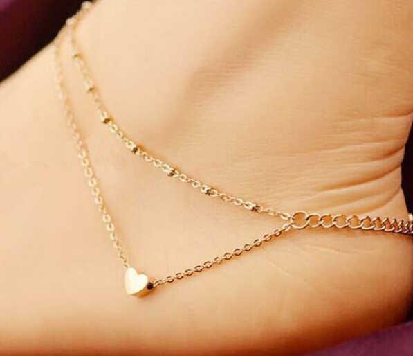 Phong Cách mùa hè Charming Tim Mặt Dây Chuyền Hai Chains Vàng Vòng Chân Ankle Bracelet Chân Chân Dép Chân Trần Anklets Đối Với phụ nữ