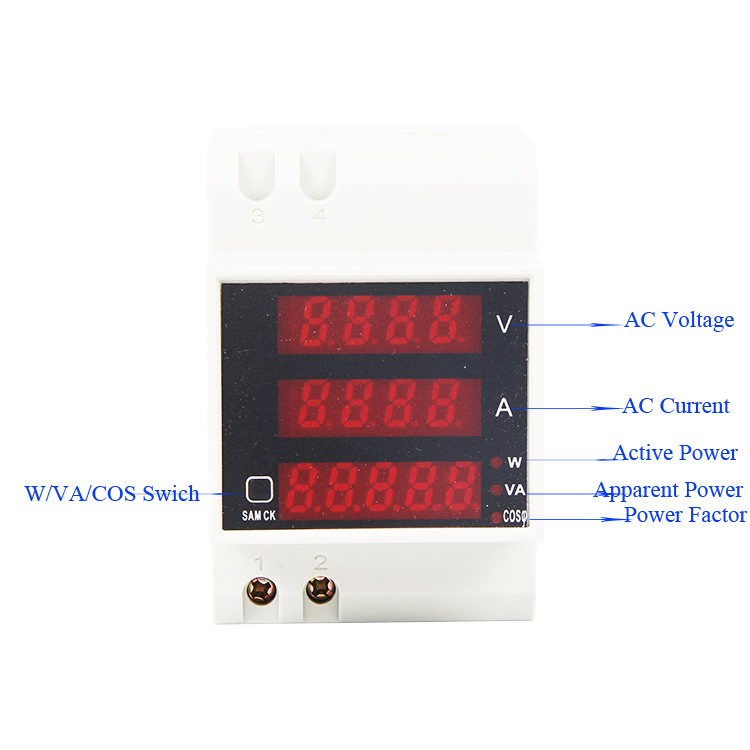 Din rail LED AC 80-300V 0-100.0A Voltmeter Ammeter display Active power and power factor time Energy Meter voltage current meter ac 80 300v 0 2 99 9a ammeter voltmeter din rail led volt amp meter display active power power factor time energy voltage current