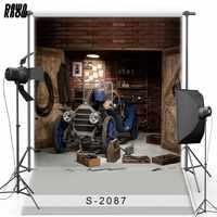 DAWNKNOW salle d'outillage vinyle photographie fond pour enfants voiture nouveau tissu flanelle toile de fond pour bébé Photo Studio accessoires 2087