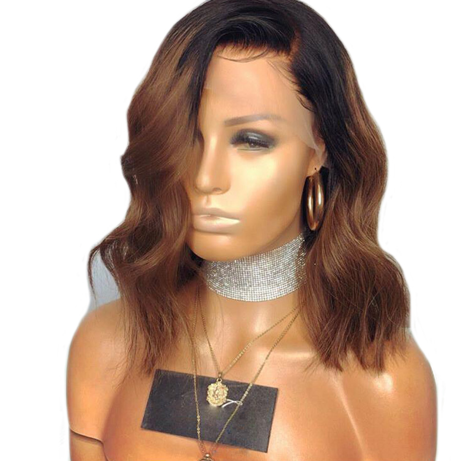 SHUMEIDA Lace Front Human Hair Wigs With Baby Hair Pre Plucked Ombre Lace Front Wig Brazilian