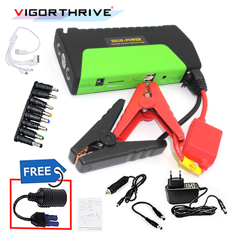 Car Jump Starter Power Bank Emergency Car Battery Booster Pack Vehicle Jump Starter Charger SOS Lights 12V 600A Green image