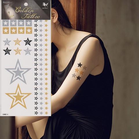 Gold Silver Metallic Temporary Tattoo Sticker Women Waterproof