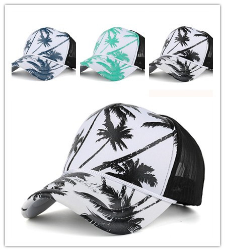 Womail baseball cap Unisex Couple Fashion Coconut Tree Printing Snapback Hip Hop Flat Hat Adjustable Hat 2019 dropship f21