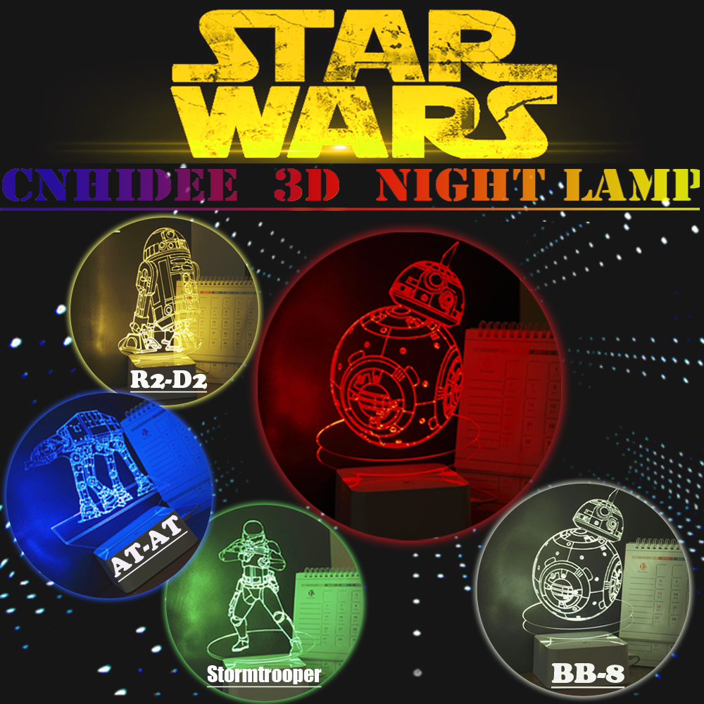 USB Star war 3D Night Light BB-8 D2R2 AT-AT Stormtrooper Led Lampe De Table comme Home Decor Bureau Lamparas de Mesa Creative Cadeaux