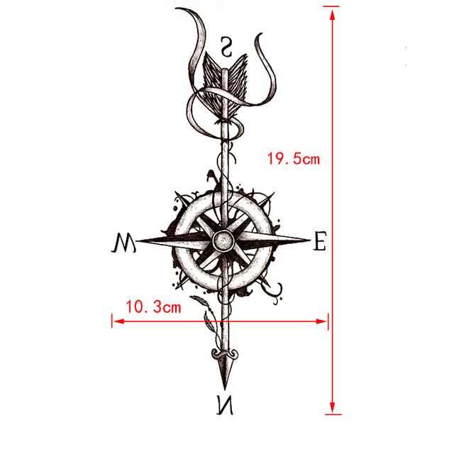 Waterproof Temporary Compass with Arrow Tattoo