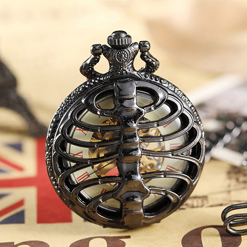 Hollow Spine Ribs Style Mechanical Pocket Watch Male Steampunk Skeleton Mens Hand Wind Clock Roman Pocket Watch With Fob Chain купить в Москве 2019
