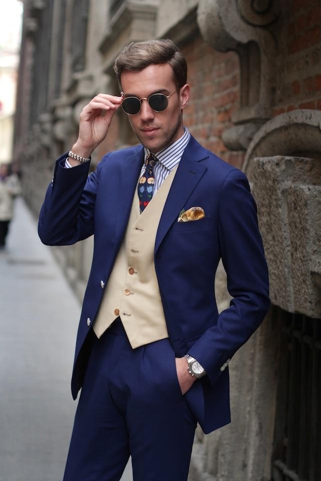 Free shipping new style 2016 new suit bespoke suits a three-piece suit man/blue suit (jacket + pants + vest, tie)