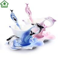Cute Blue Purple Elegant 3D Dolphin Enamel Coffee Mug China Porcelain Tea Cup With Spoon Saucer