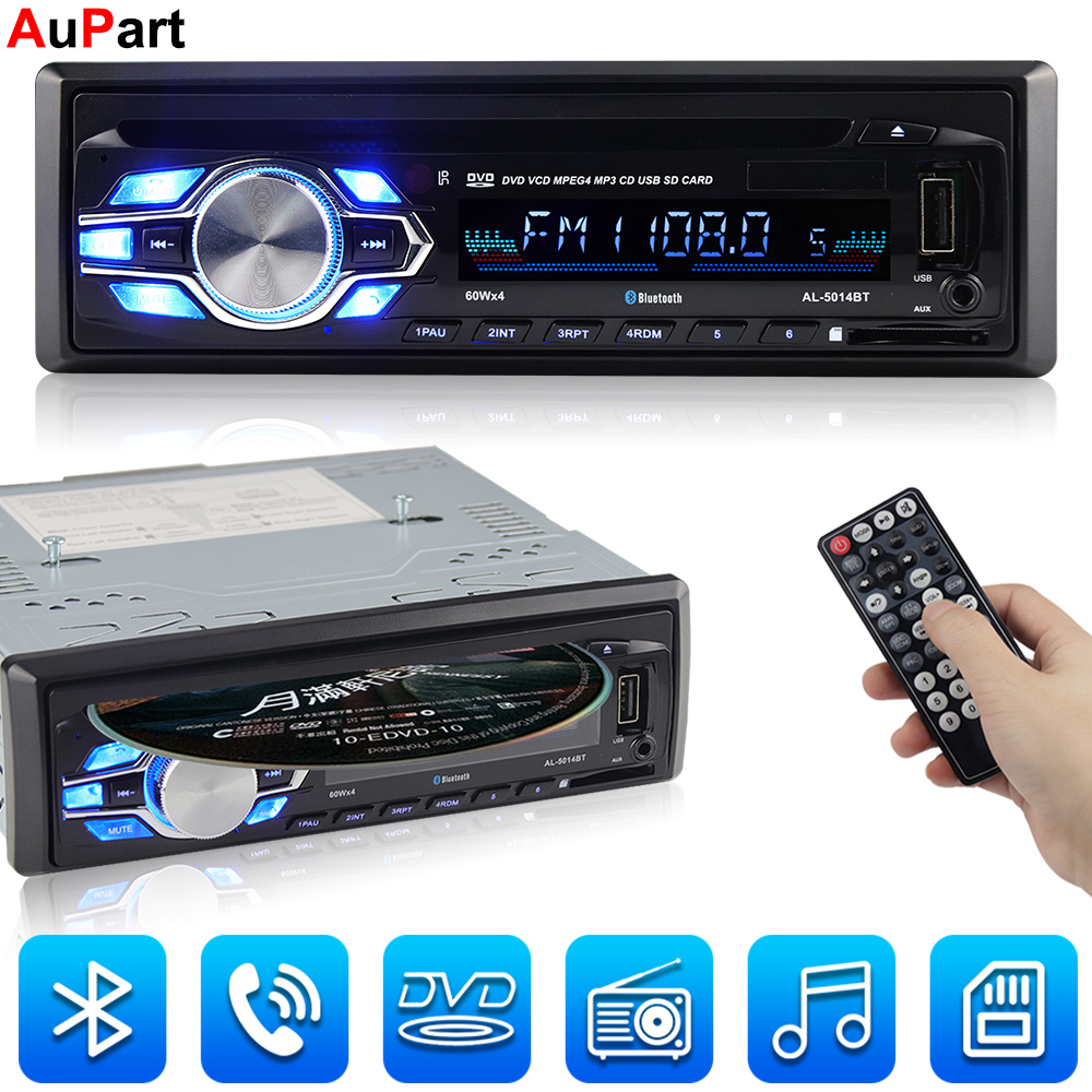 Autoradio voiture lecteur CD Automotivo 1 Din 12 V Bluetooth Autoradio Audio Auto stéréo USB AUX DVD VCD CD MP3 carte SD Radios Para Carro