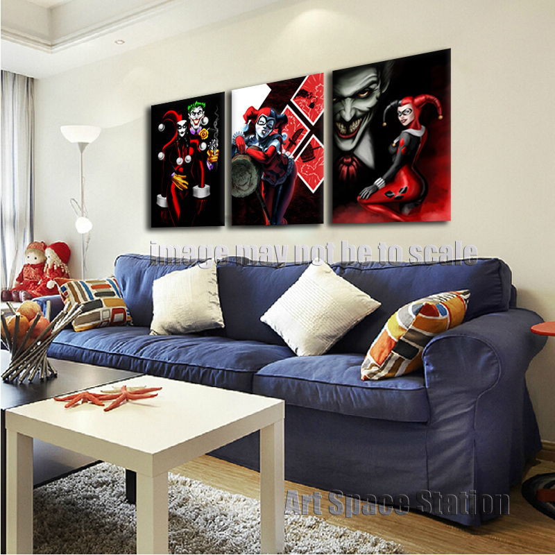 FREE SHIPPING Harley Quinn and The Joker Comics Poster 3 Piece Cartoon  Canvas Wall Pictures Print. Harley Quinn Bedroom