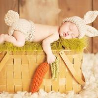Cute Handmade Rabbit Bunny Beanies Cartoon Costume Knitted Crochet Photography Props Newborn Photo Baby Caps Hats
