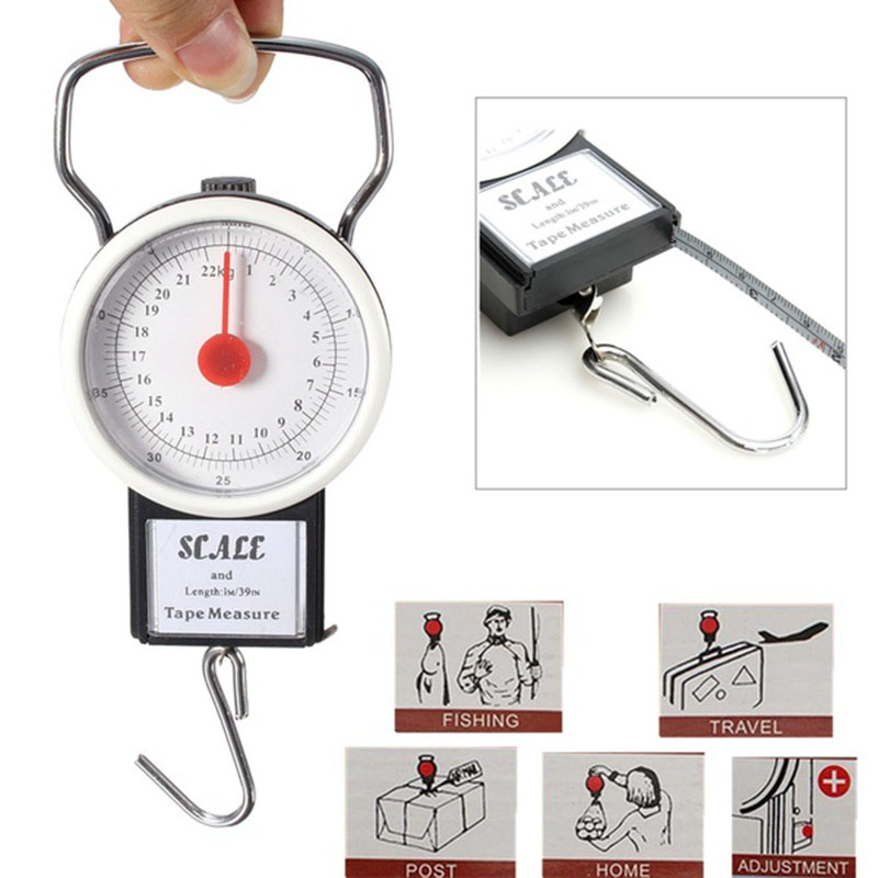 2017 New Arrival Portable Travel Scale Hanging Suitcase Hook 22kg 50lb w/Measuring Tape