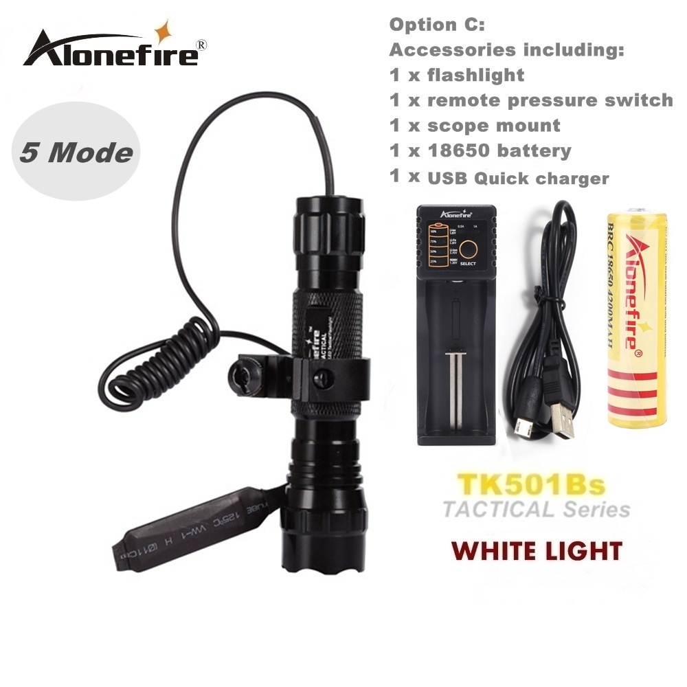 Alonefire Cree Tactische zaklamp XM-L2 U3 LED 501B zaklamp lantaarn 20mm Mount Airsoft richtkijker jachtgeweren licht 18650 batterij