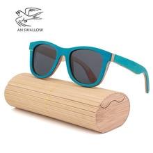 Environmentally friendly wooden skateboard wood polarized TAC lens UV400 bamboo sunglasses women