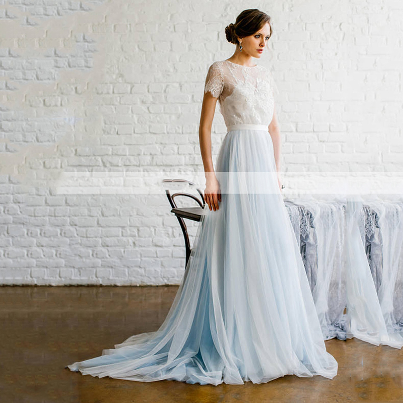 Light Sky Blue Custom Made Ribbon Waist Pleated Tulle Maxi Skirts Bohe Bridal Wedding Floor Length Formal Skirt Sweep Train