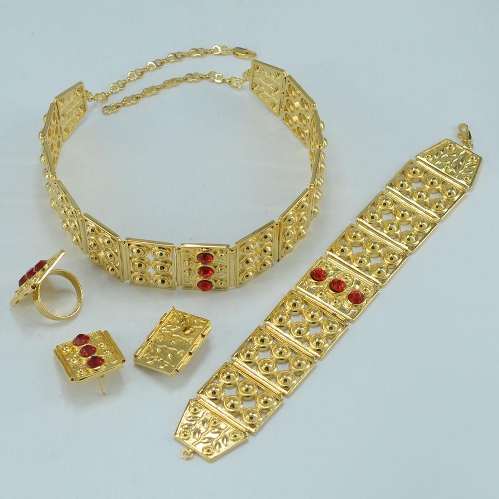 Anniyo Big Size Ethiopian Set Jewelry Gold Color African Wedding