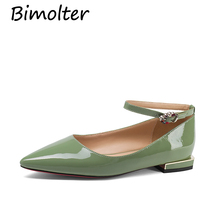 Bimolter Genuine leather women flat shoes Crystal Pointed toe Mary Janes fashion comfortable ladies spring shoes woman NB034 цены онлайн