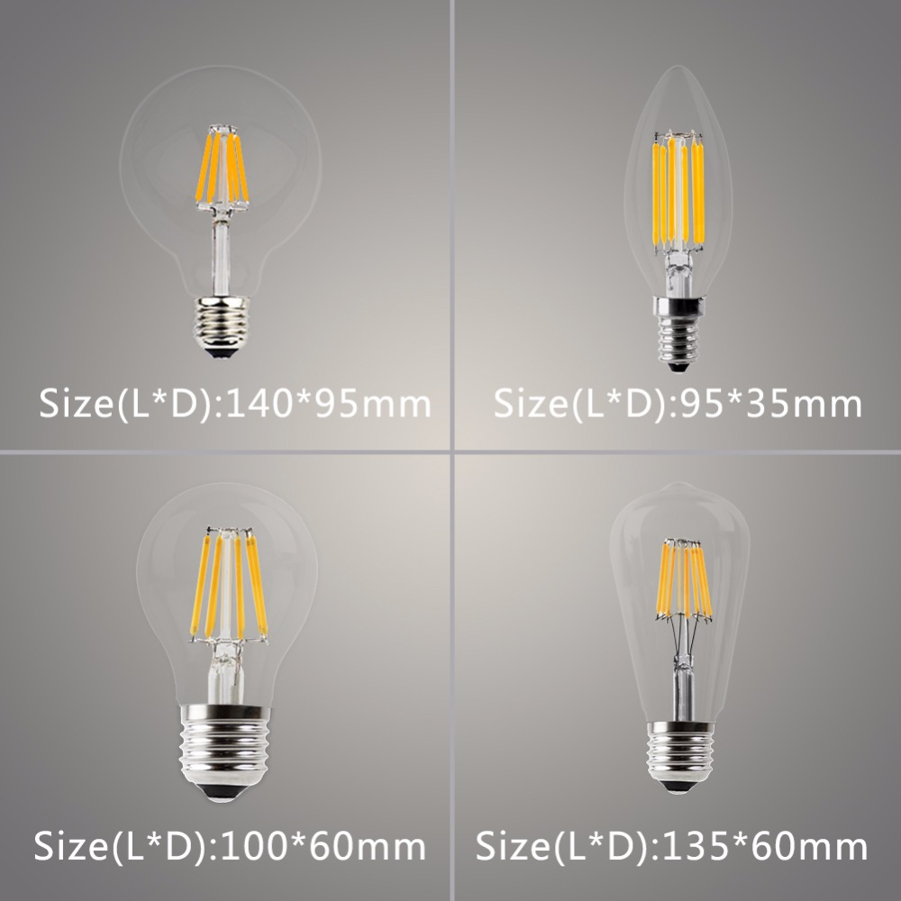 6 Packs E14 E27 LED Candle Bulb Vintage C35 Filament Light Bulb LED 2W 4W 6W 8W Replace Incandescent Edison Globe Lamp 220V A60 vintage edison bulb led e27 e14 lamp filament light vintage led bulb lamp 220v retro candle light 2w 4w 6w 8w g45 g80 g95 g125