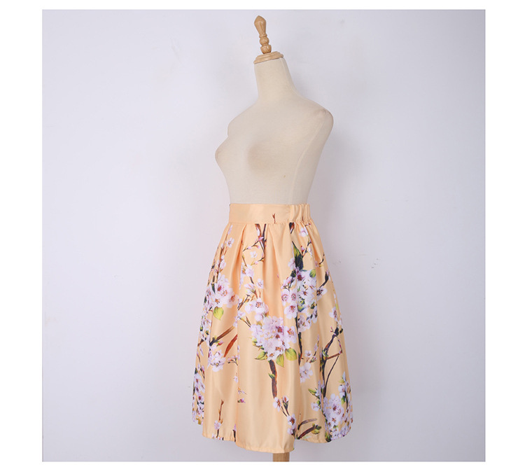 Summer Women Skirt Vintage Peach Blossom Floral Print Pleated Elastic Skirt High Waist Ball Gown Pleated Midi Skater Skirts