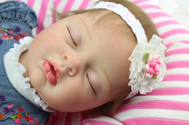 NPKCOLLECTION55cm popular Icrad sumilation newborn sleeping baby girl with denim dress silicone reborn baby doll npkcollection55cm soft silicone newborn baby doll with eyes closed simulation to accompany sleep toys silicone reborn baby doll