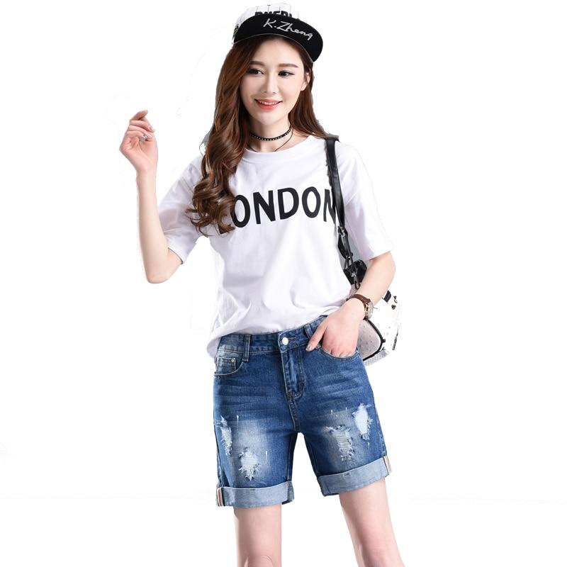 New Women Clothing Ripped Holes Denim Shorts With Pockets Harajuku Summer Ropa Mujer Slim Short Pants Feminino Casual Jeans D26
